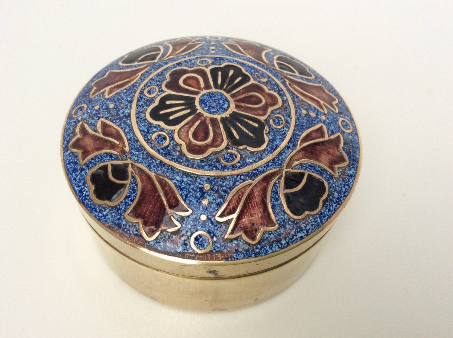 Vintage brass box small enamelled box inlaid brass lid engagement ring wedding ring gift box anniversary fancy gift box ring bearers box