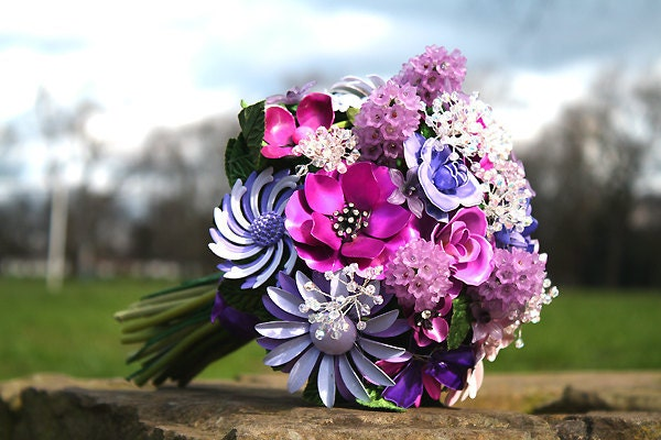 Bridal set brooch bridal bouquet and boutonniere Purple Sweetness