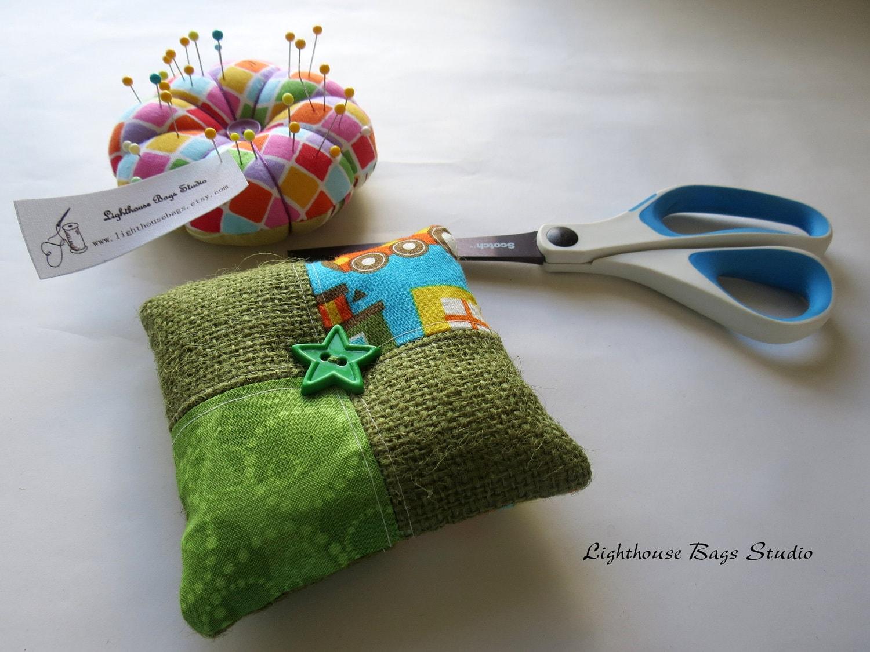 Square Pincushion - Trains & Burlap Fabric - Lighthousebags