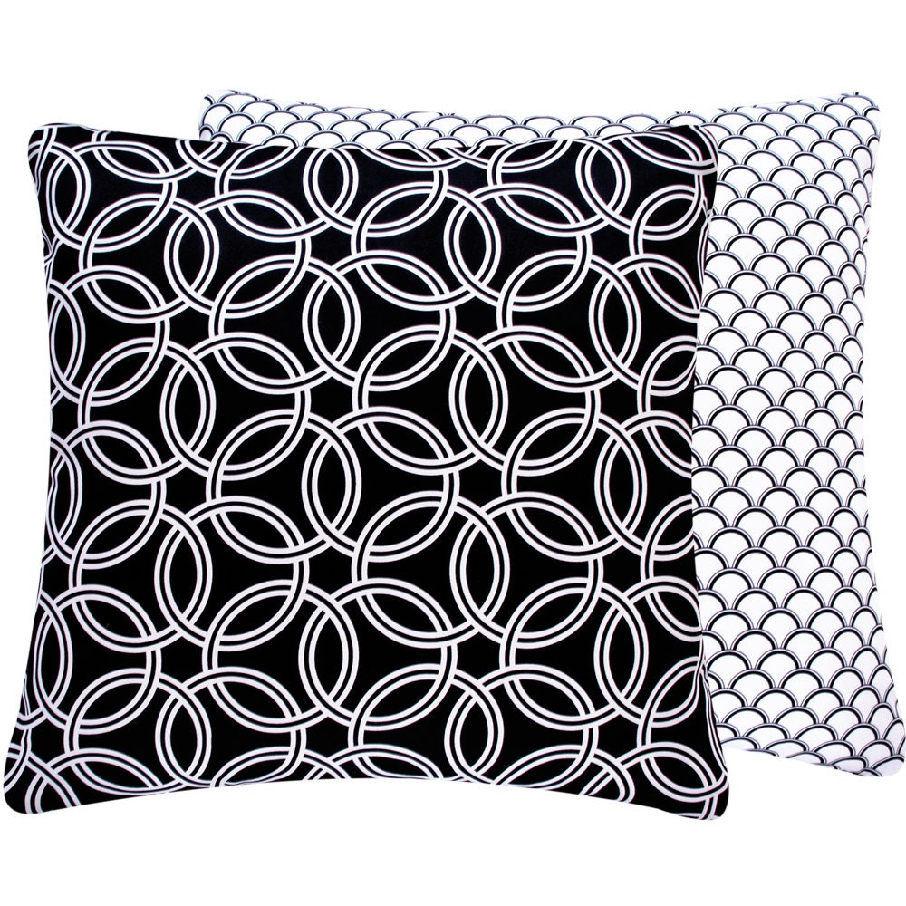 White and Black Circle Throw Pillow Cover 20x20 Reversible, Flips to Rings or Scallops - Bold ...
