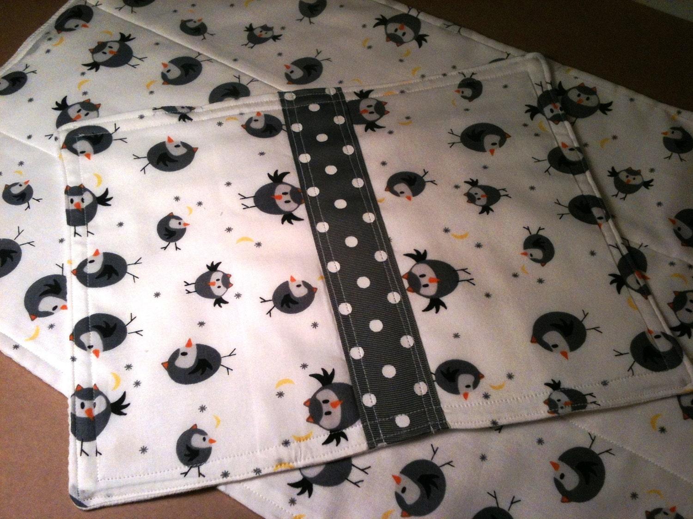 burp cloth baby wipe owls moon stars boy or girl gray bird white polka dot grosgrain set of 2 orange yellow