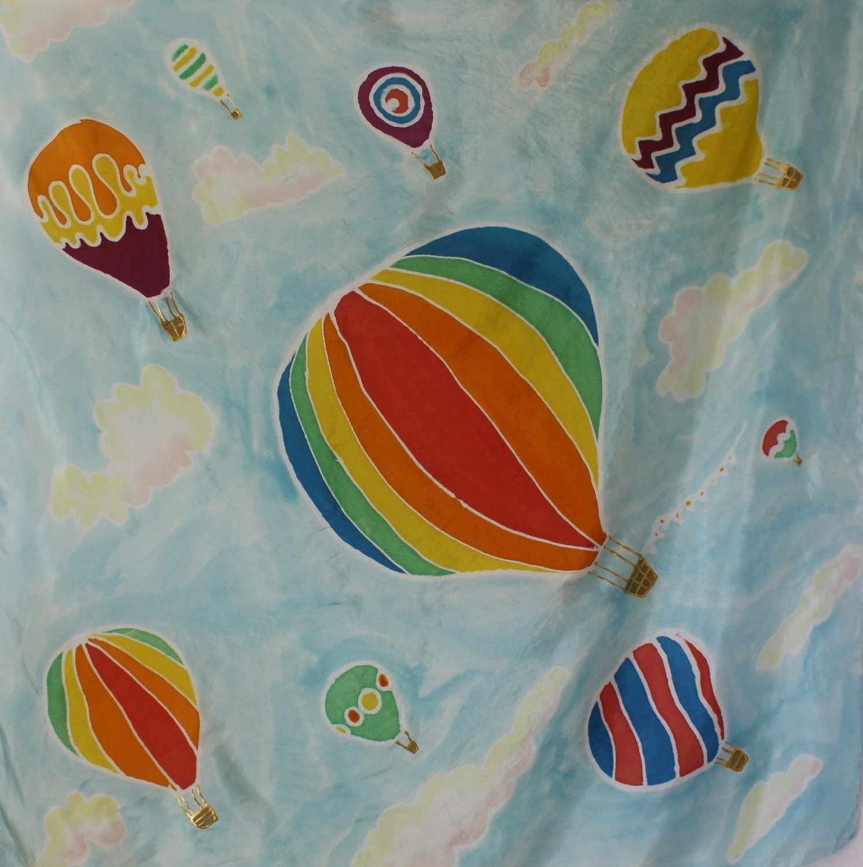 Silk Scarf. Hot Air Balloons Spring Fashion - hand painted
