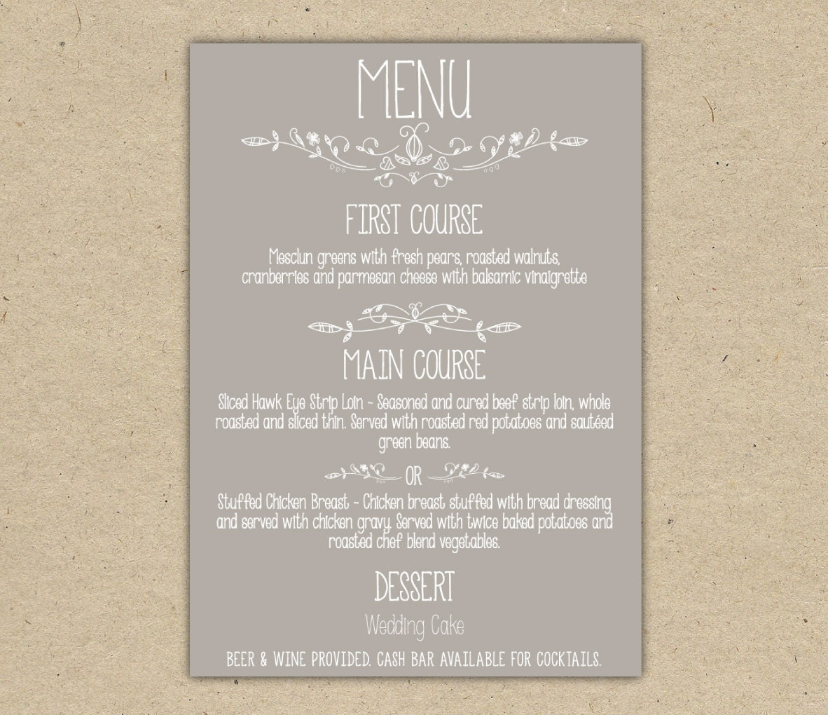wedding menu dinner custom  wedding reception by bejoyfulpaper