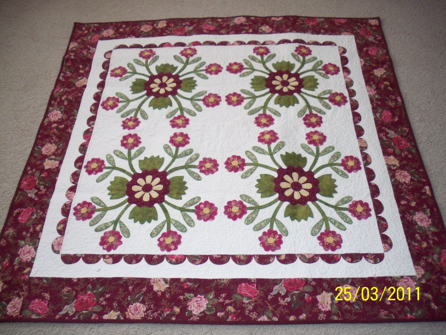 Applique Quilt Pattern WHIG ROSE 2 by AnniesQuiltCraft on Etsy