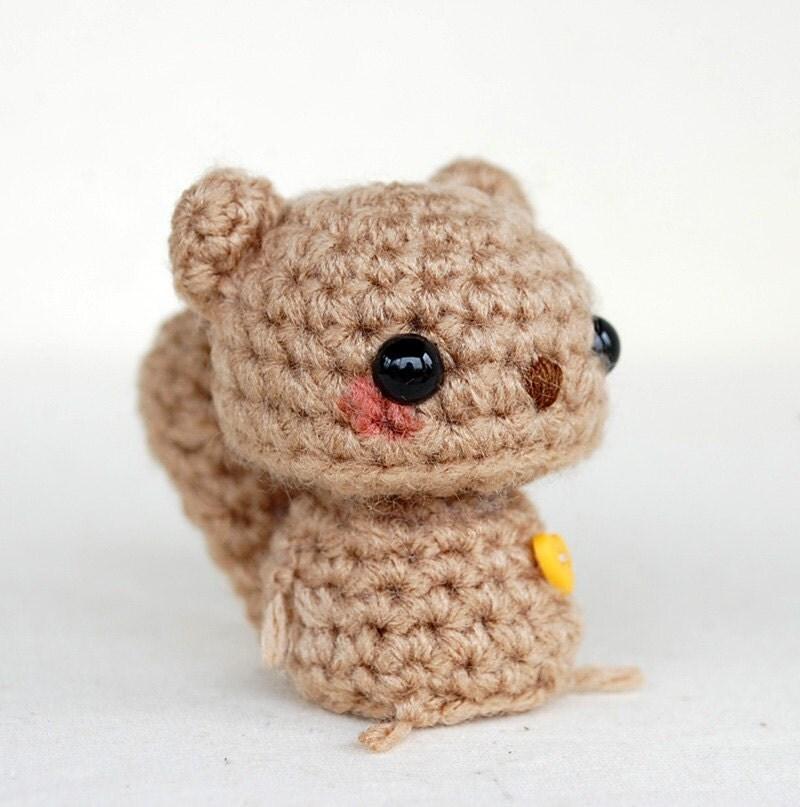 Amigurumi Squirrel Crochet Pattern : Kawaii Brown Squirrel Mini Amigurumi by twistyfishies on Etsy