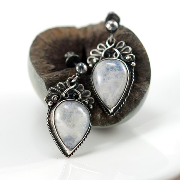 Silver Earrings with Moonstone, Metalsmith Handmade Jewelry, Silversmith Earrings, One of a Kind, OOAK - MauraSarabeth