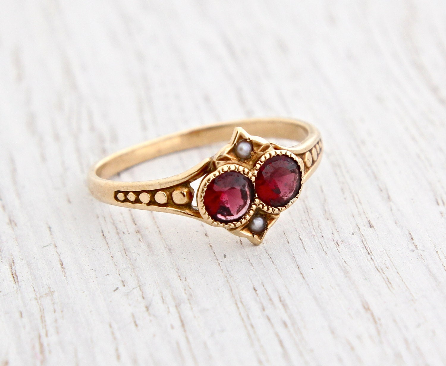 antique 10k gold garnet seed pearl by