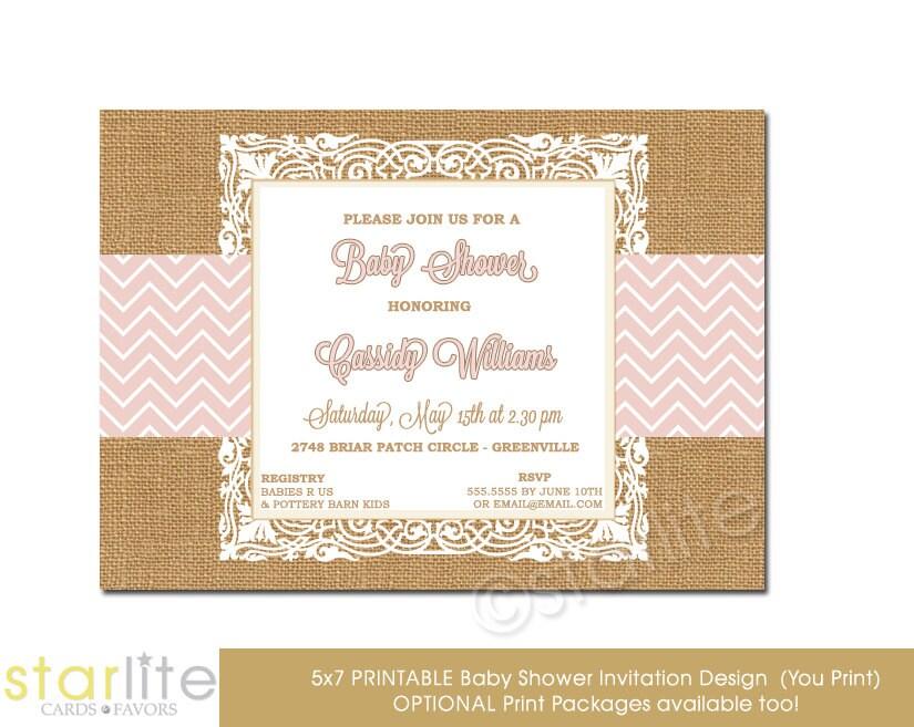 baby shower invitation pink chevron burlap lace 5x7 unique