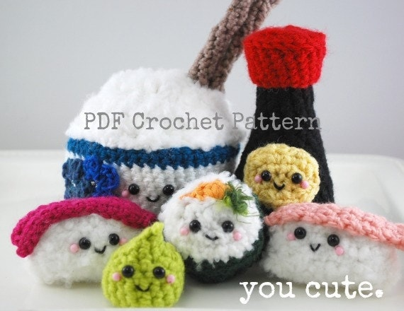 Amigurumi Sushi Free Pattern : Crochet Pattern Amigurumi Sushi Bar Collection by youcute ...