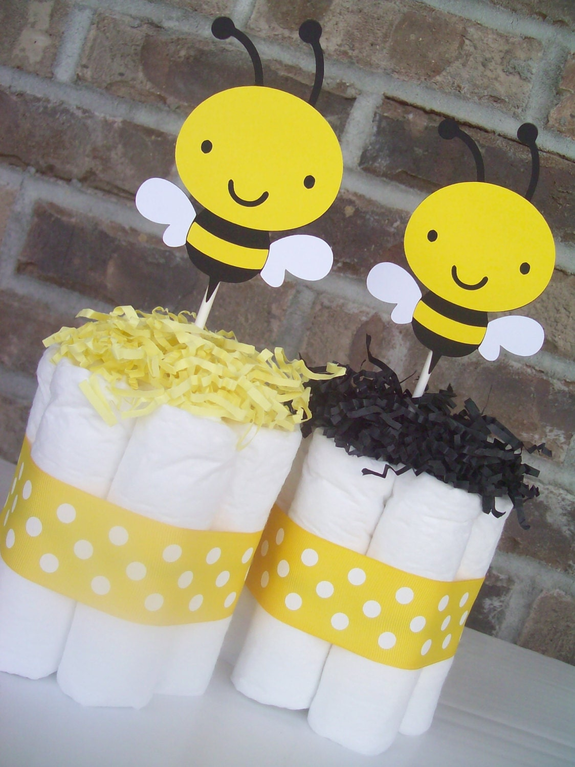 bumble bee diaper cakes set of 6 baby shower decorations centerpieces