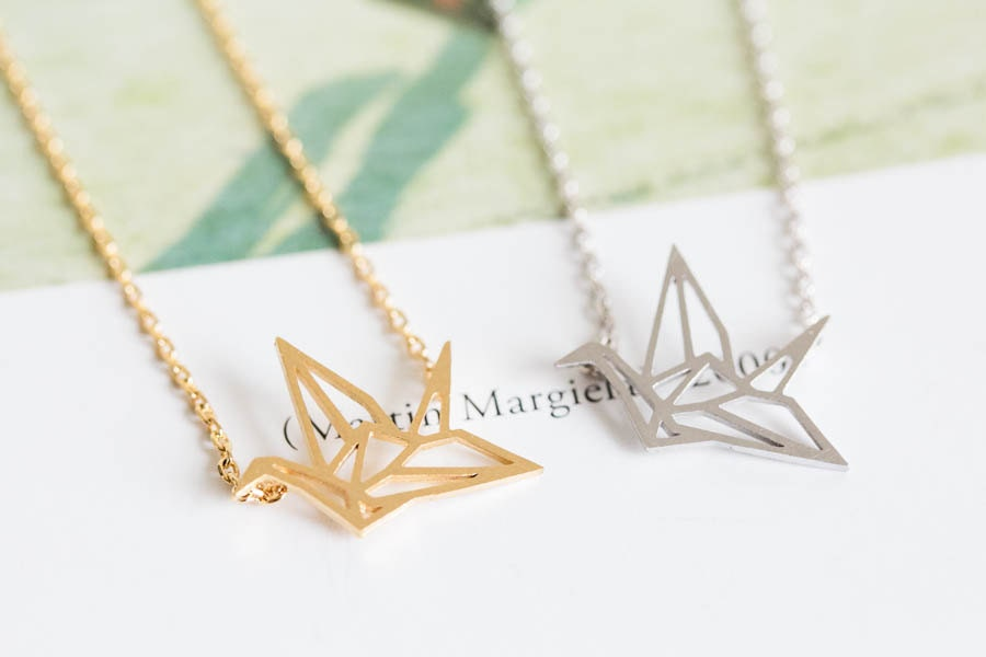 paper crane necklace,animal necklace,girls necklace  ,unique necklace,beautiful necklace,pretty necklace,womens necklace,N042K - LETTERSEARRING