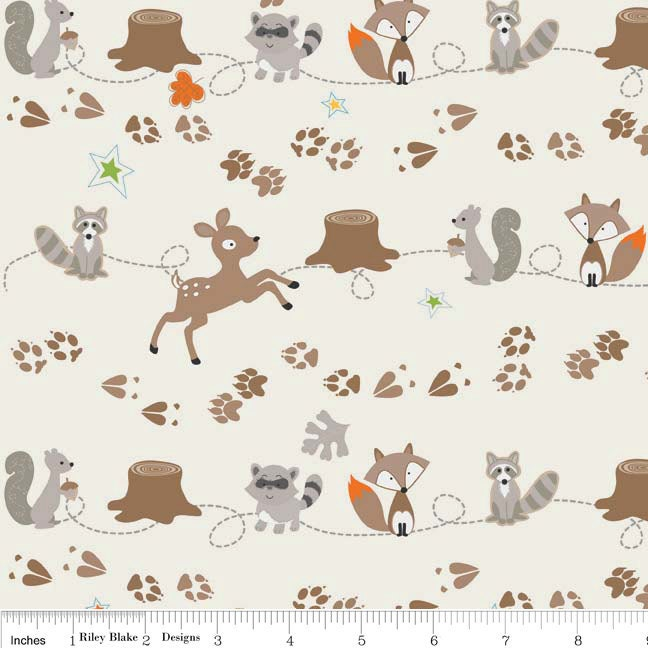 Fox and raccoon flannel fabric fox trails by for Fox print fabric