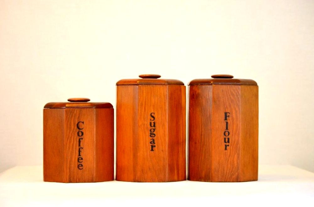 vintage mid century wooden kitchen canisters set by