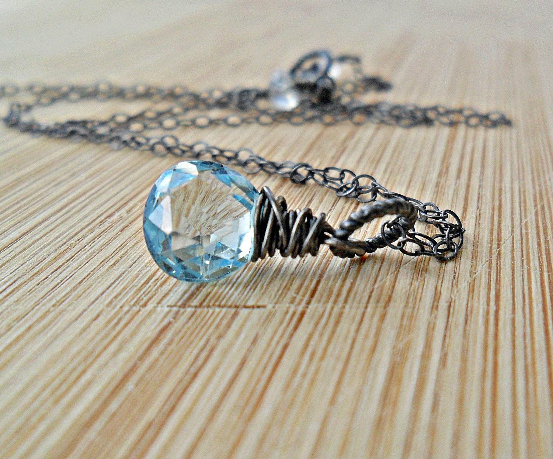 Swiss Blue Topaz Necklace, AAA Sky Blue Swiss Topaz Oxidized Sterling Silver December Birthday December Birthstone