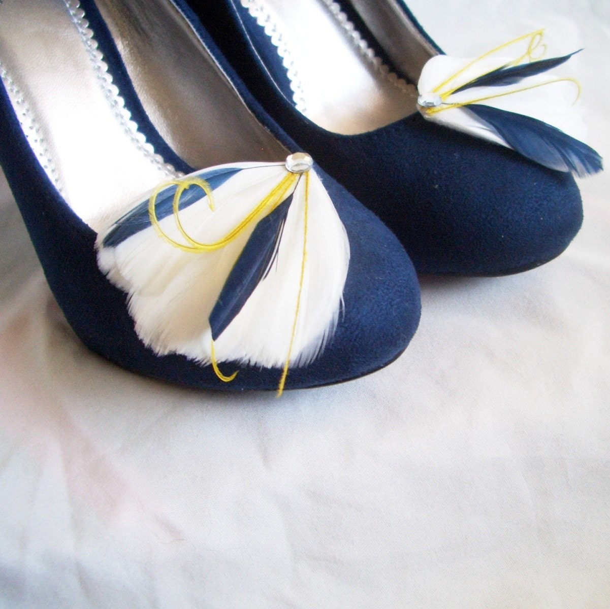 MILA SHOE CLIPS - 1 Pair of  Ivory Navy and Yellow Feather Shoe Clips - TheHeadbandShoppe