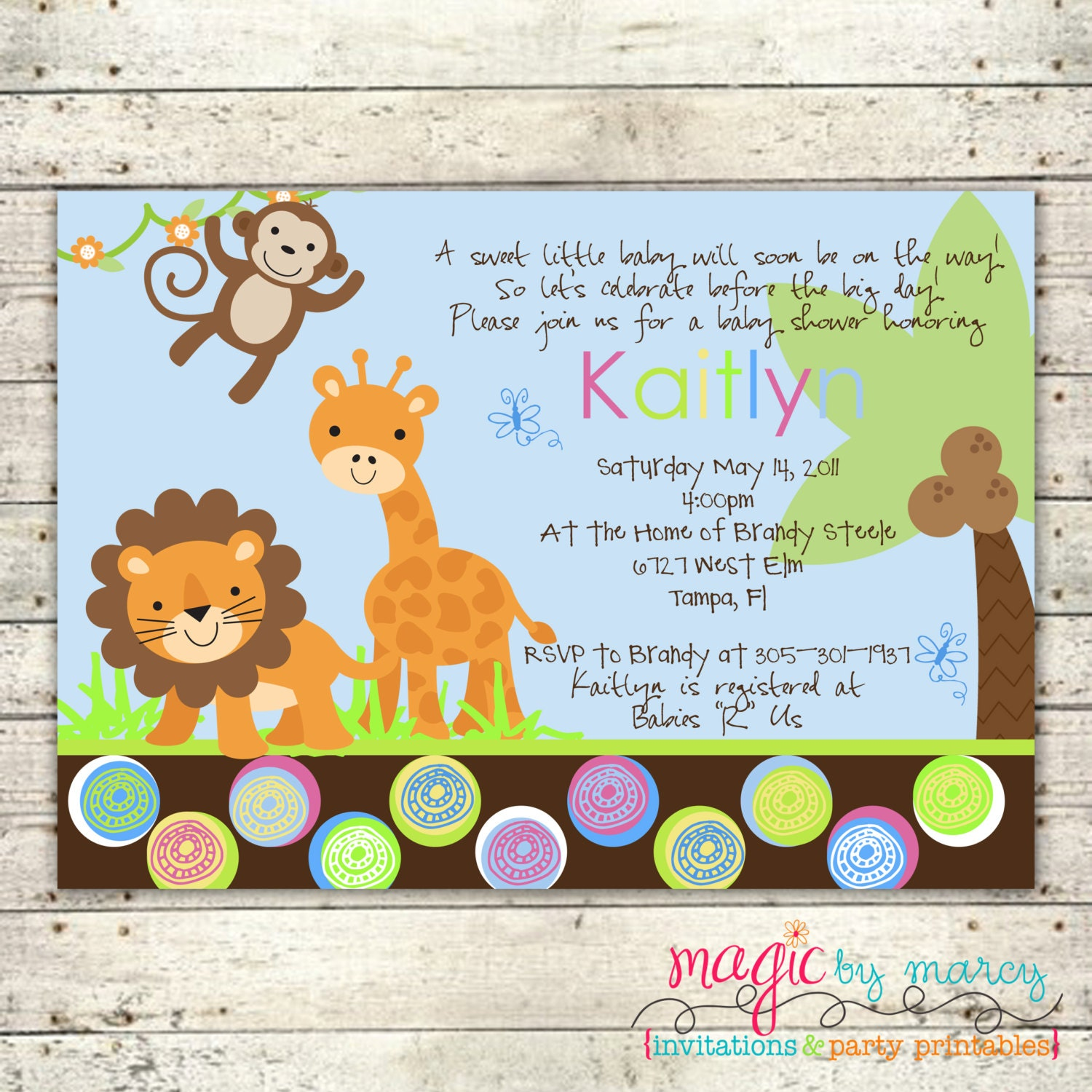 jungle themed baby shower printable invitations by magicbymarcy