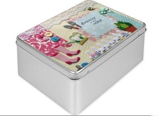 Tin Box gardening tool box personalised box garden tool storage boxmetal box pink and yellow box memory box handmade gift custom box