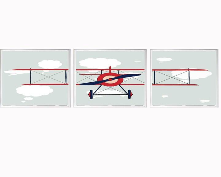 Airplane art nursery decor wall art aviation by fmdesignstudio for Airplane wall decoration