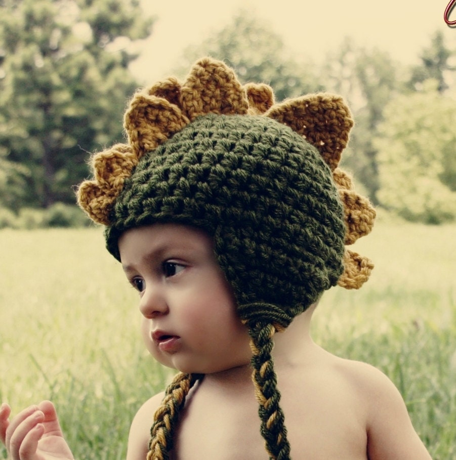 Baby Dinosaur Crochet Hat Green and Mustard by HatAndColdCrochet