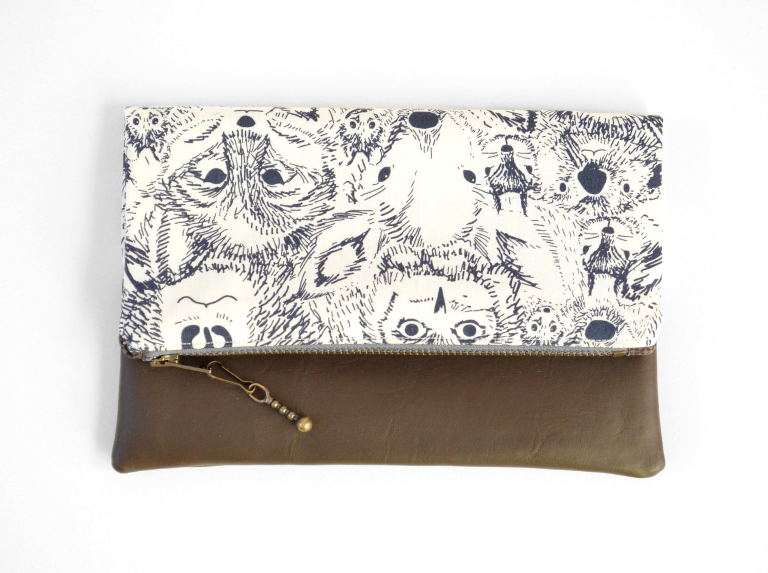 Animal Print Fold Over Clutch, Leather Accent Clutch, Owl Print Clutch, Sarah Watson Fabric - sewandtellhandmade