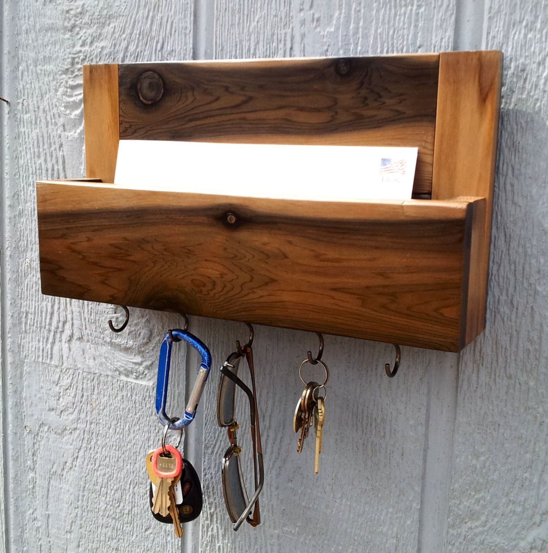 Cedar mail and key holder key rack dog leash by cedaroaks - Mail holder and key rack ...