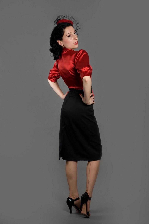items similar to 1940s 1950s black pencil skirt sheen