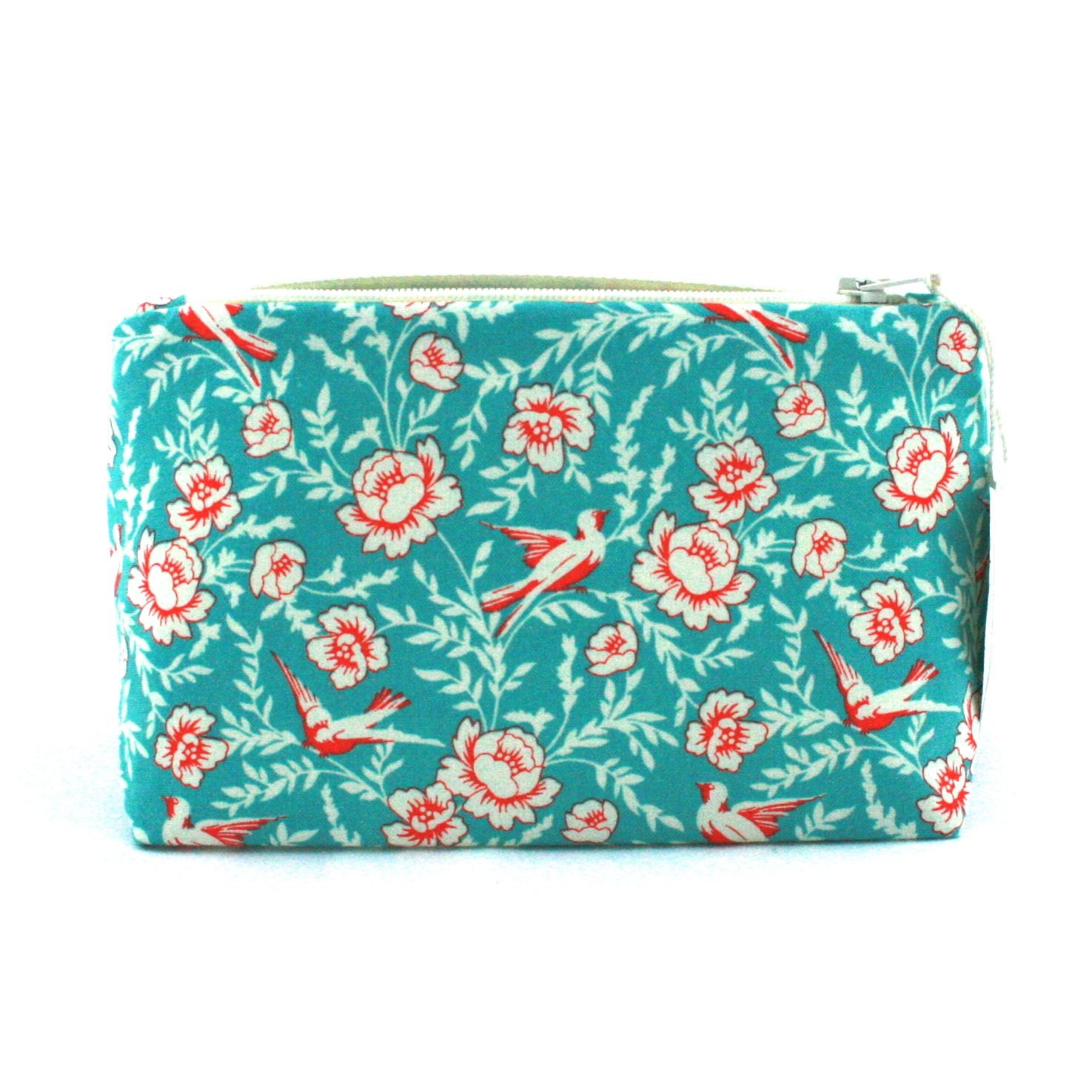 Aqua & Red Bird Makeup Bag / Cosmetic Bag in Retro Swallow Print - Gift for Her , Vintage Bridesmaid Gift, Birthday Gift, Mother's Day - JordaniSarreal