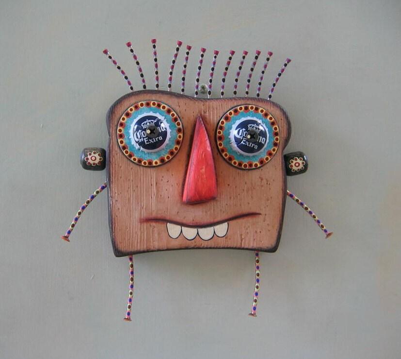 Je suis Toast, Art de mur objet trouvé Original, bois sculpté, de Studio de confiture de figue
