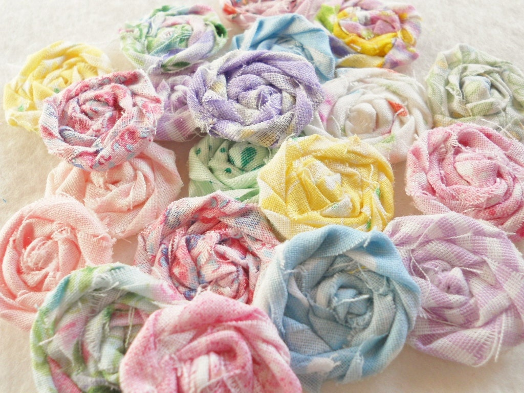 "Fabric Flowers Pastel Easter Wedding Rolled Roses Hairclip Pinwheel Bobby Pin Photo Prop Rosette 1"" Scrapbook Wholesale 20 - YoYoCottage"