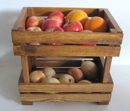 Wooden crate stackable fruit or vegie holder by dreamatheme for Wooden fruit crates