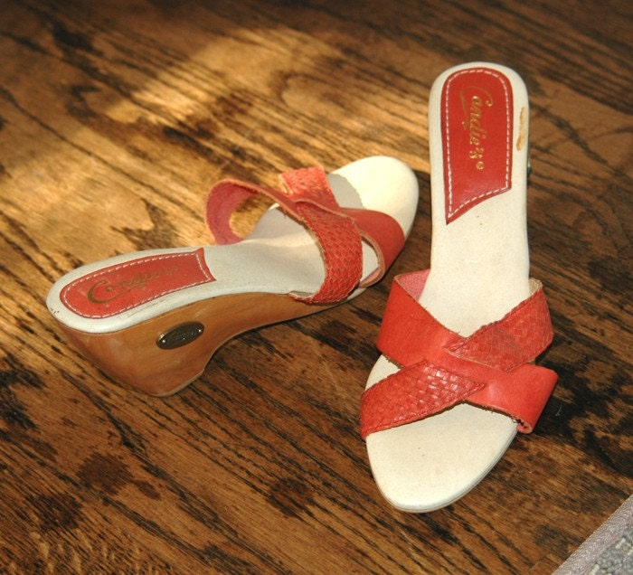 vintage candies 1970s burnt orange wedge shoes by
