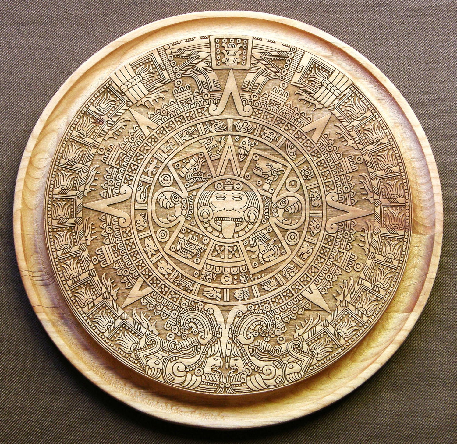 Items Similar To Laser Engraved Aztec Calendar Cutting Or