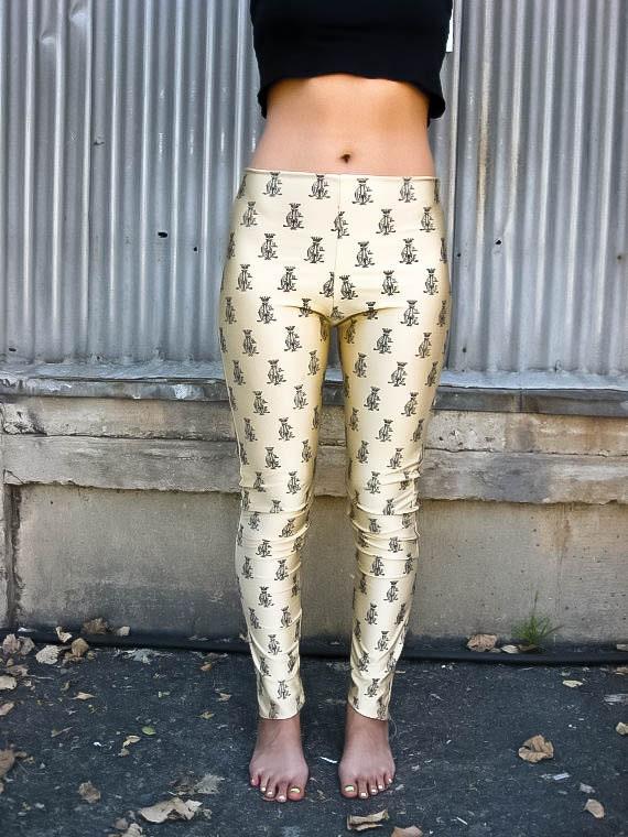 Handmade Golden Logo Print Legging // Pants // S-L - SomaticMind