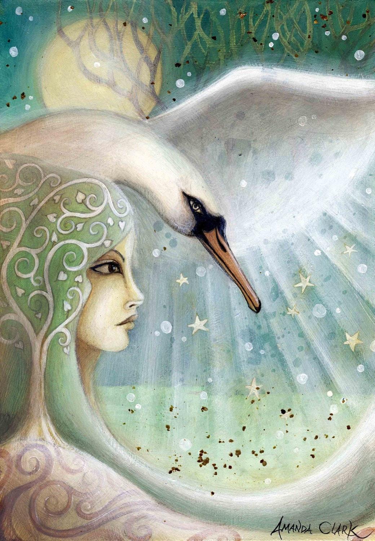 A fairytale art print . Swan Sister 2.
