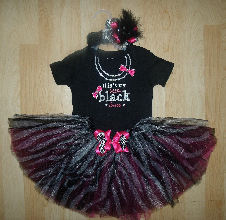 Baby Girl Little Black Dress Zebra Tutu Gift Set By