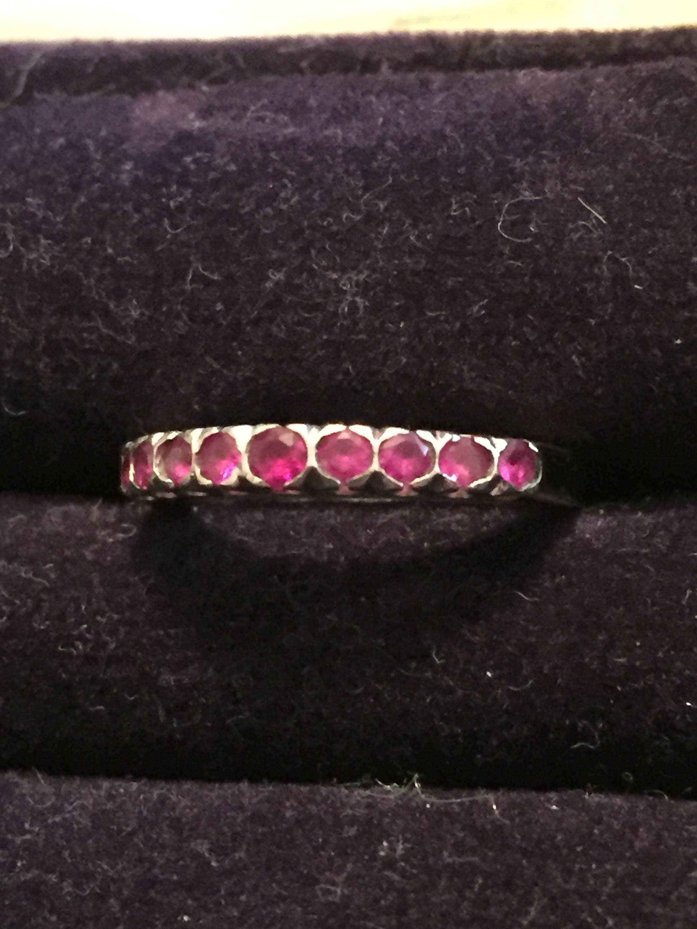 Ruby Ring Platinum Anniversary Eternity Stacking SPRING SALE