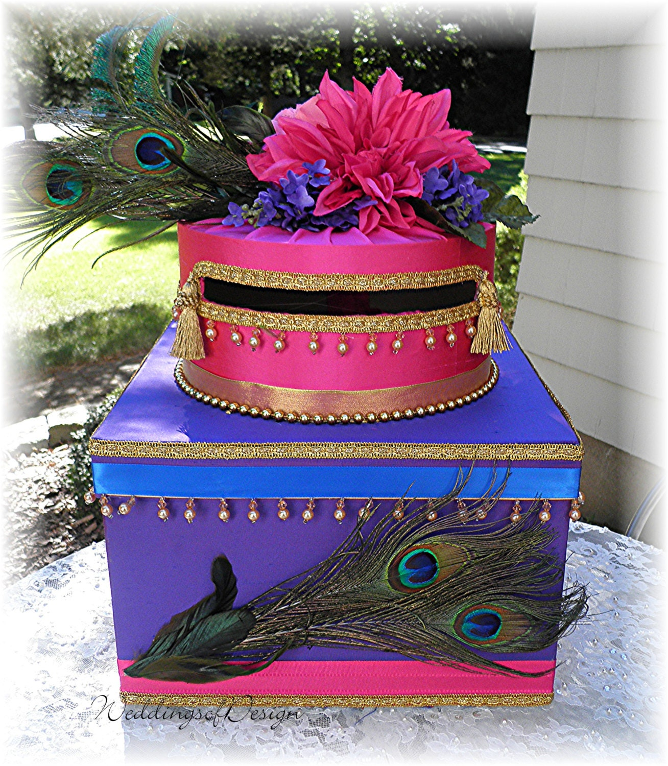 Indian Wedding Gift Card Box : Indian Hindu Wedding Card Money Box PEACOCK Feathers Beads Tassels ...