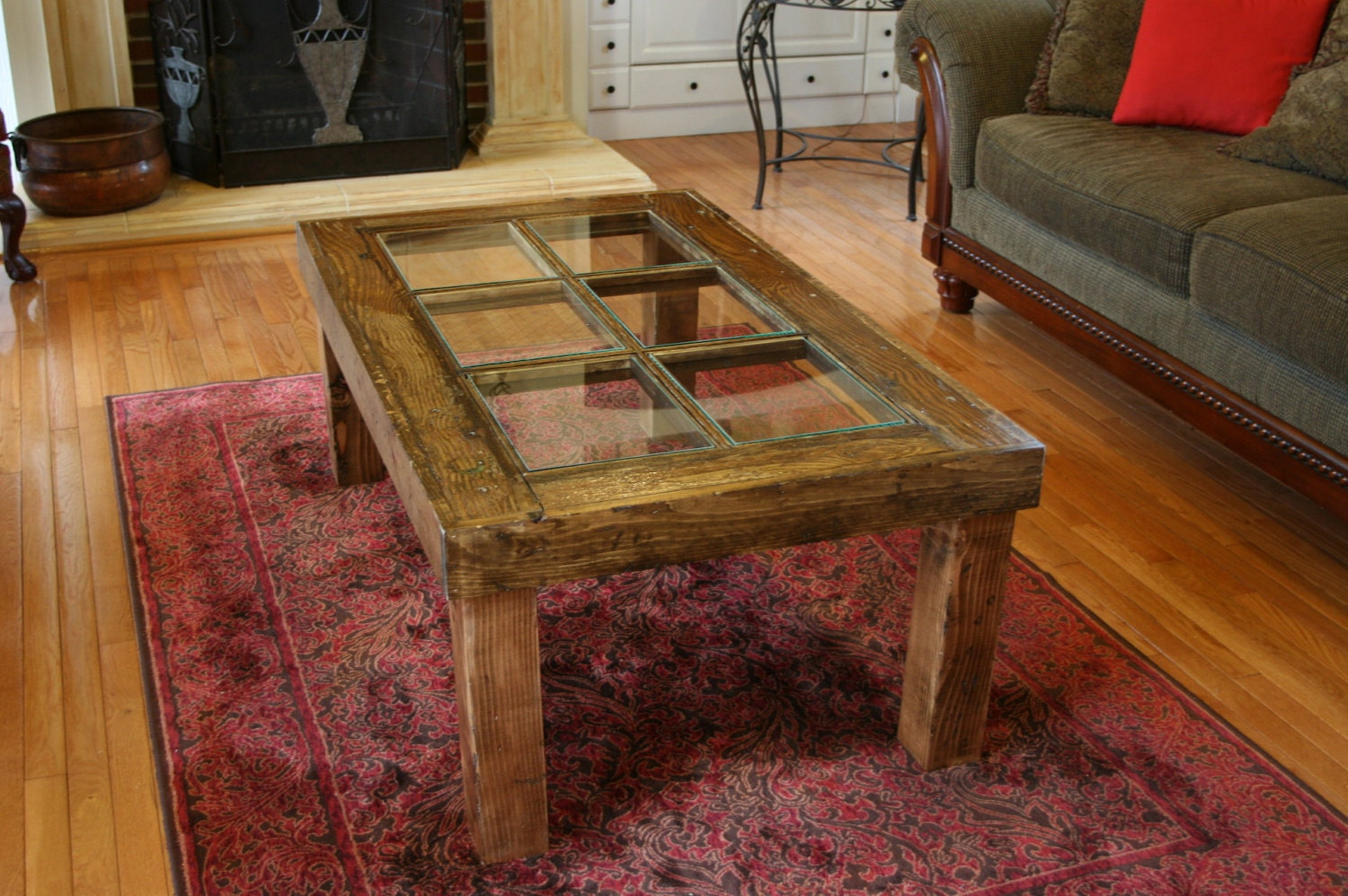 Rustic six panel old door coffee table by lillypadspecialties for Rustic door coffee table