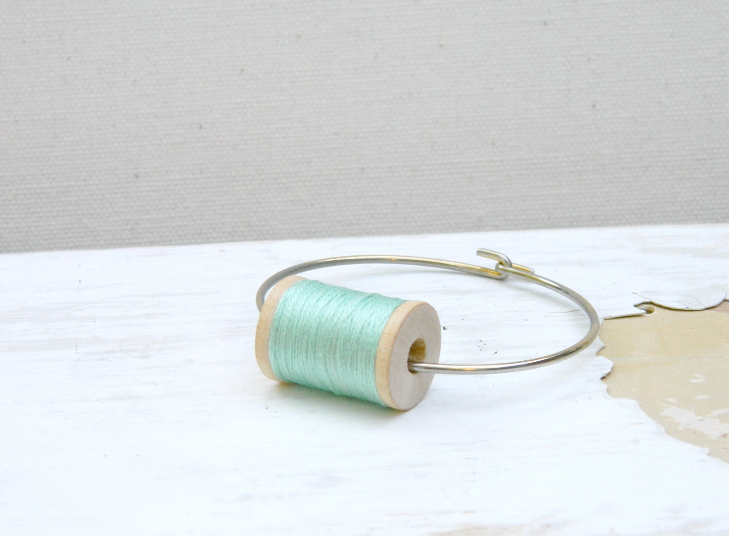 Mini Wooden Spool Bracelet Mint Pastel Color - arthandmadejewelry