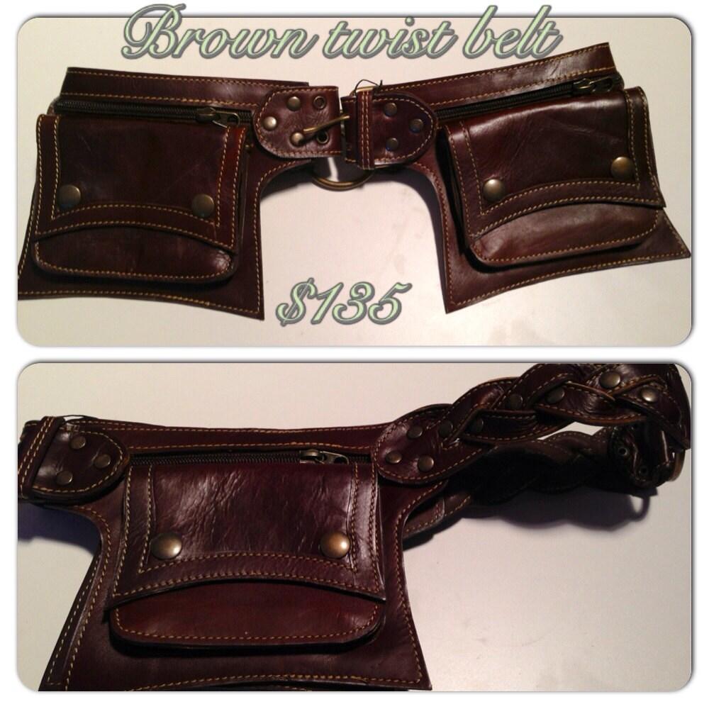 black or brown soft leather twist pocket belt by