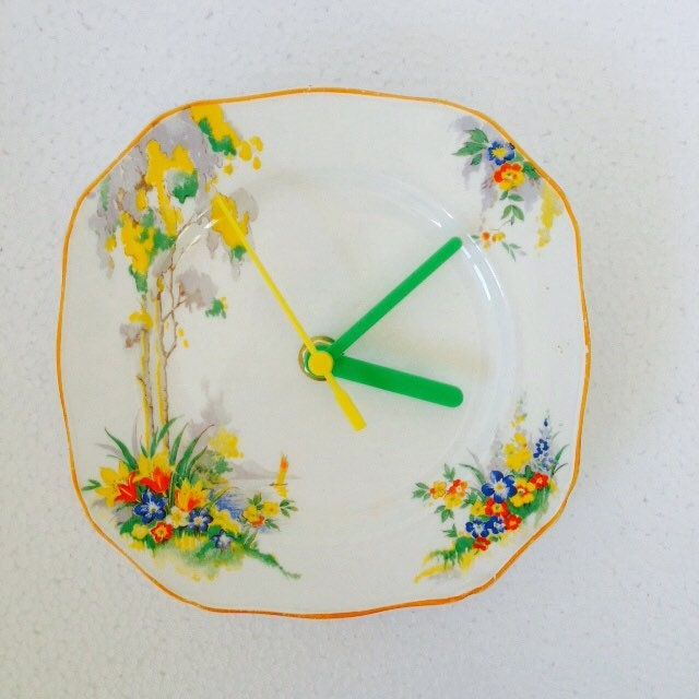 Orange Yellow Green Art Deco Alfred Meakin square china Vintage Tea Plate Silent Retro wall clock Spring Kitchen Unique gift