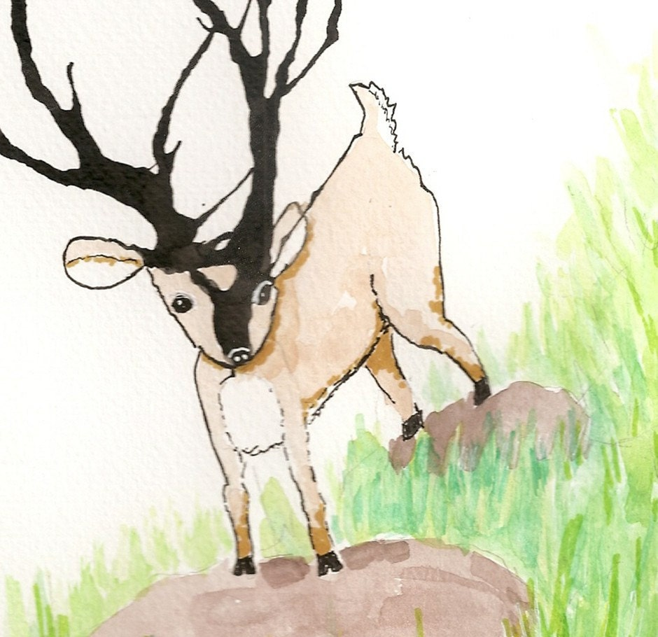 Stag (male deer with large antlers) - original ink blot illustration 8 x 10 - FrancesClements
