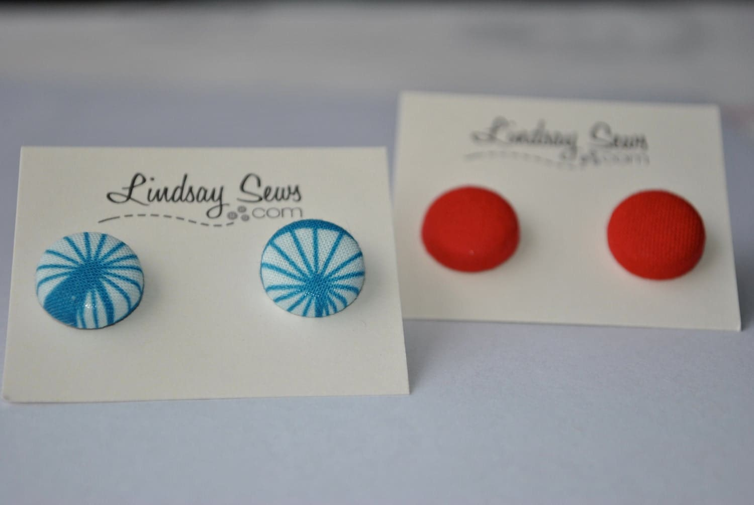Two Pairs: Blue Spokes and Solid Red Fabric Covered Button Earrings for Adoption Fundraiser