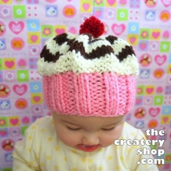 Knitting Pattern For Baby Cupcake Hat : Baby Cupcake Swirl Hat Knitting Pattern by createry on Etsy