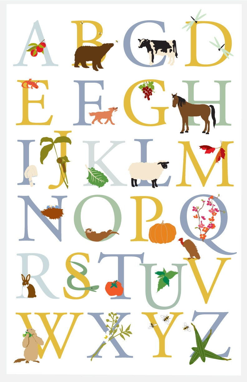 Alphabet Poster Vermont Animals And Plants Wild By Lizzyclara