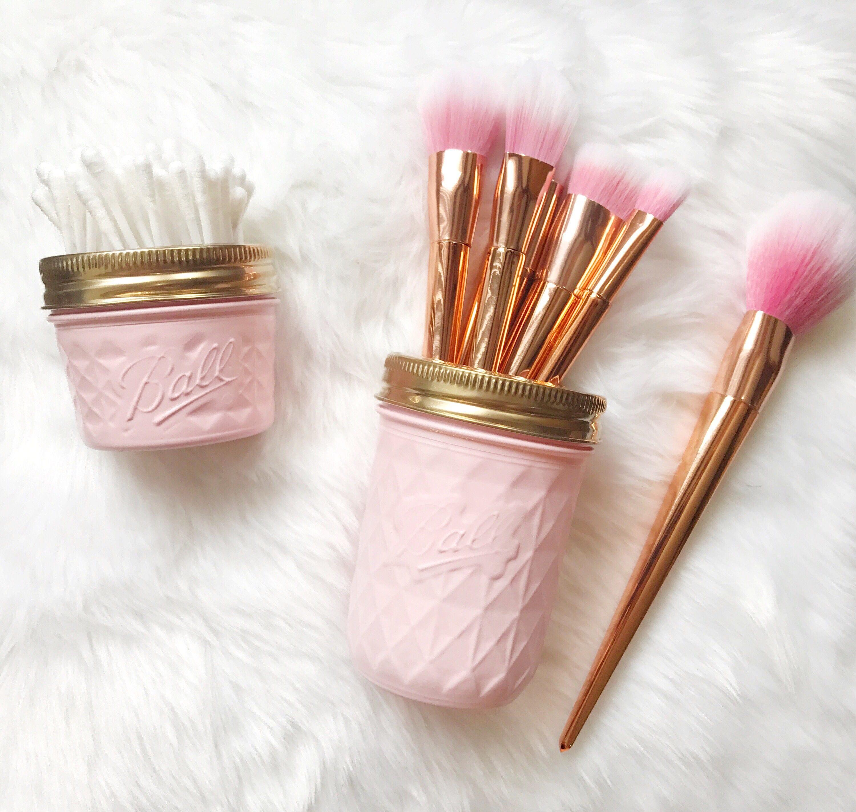 Soft Pink makeup brush holder makeup organiser baby pink Mason Jar decor makeup storage rose gold desk accessories pen pot ball mason