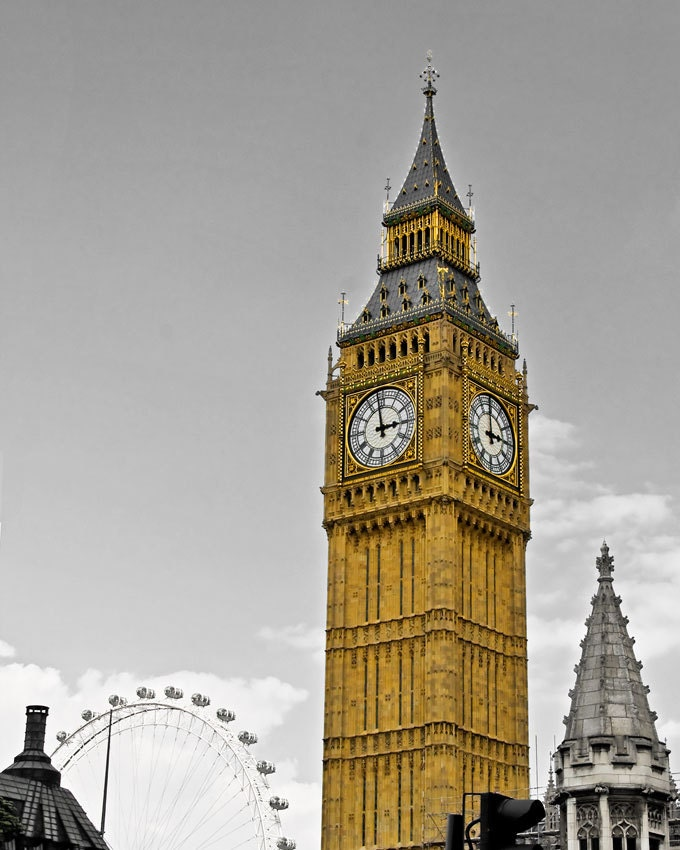 Travel Photography - London - Big Ben's Clock Tower - mono colour - 8x10 - gold and grey - JeansViews