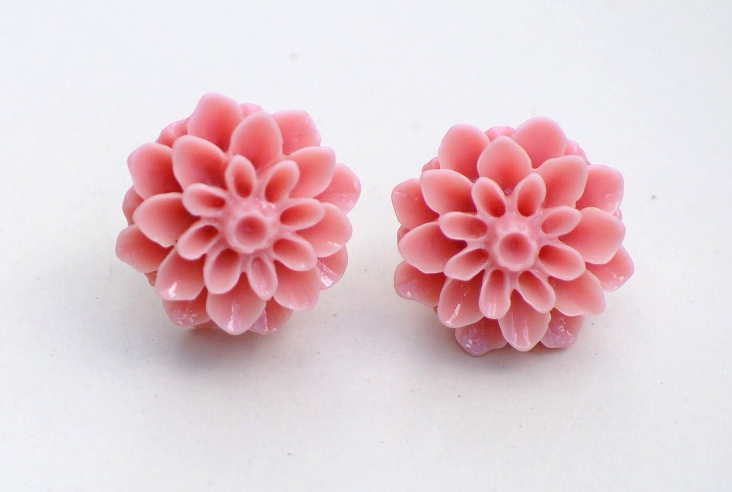 Coral Resin Flower Post Earrings