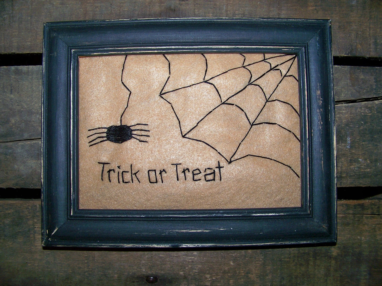 Primitive Halloween Prim Spider Spiderweb Country Decor Folk Art Primitave Colonial Stitched Fall Autumn Homespun FREE US SHIP