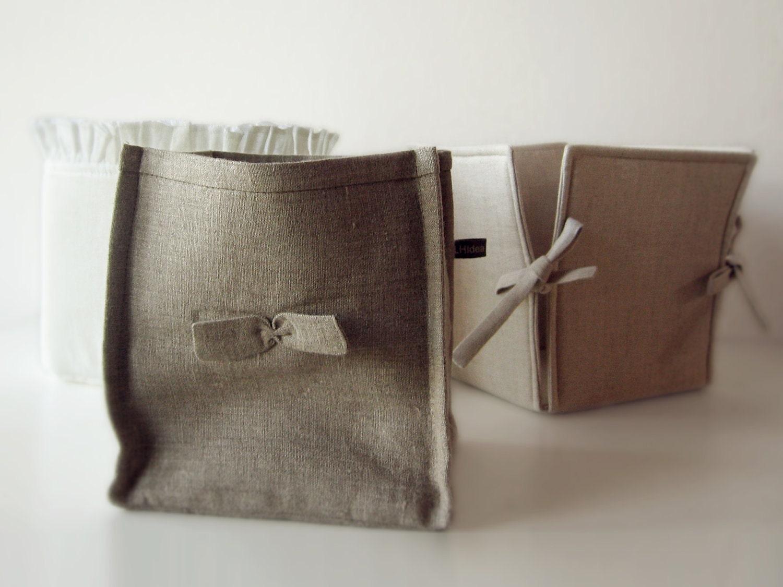 Set of three linen Storage baskets - LovelyHomeIdea